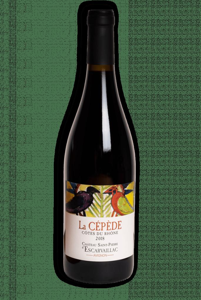 Photographie de la bouteille contenant la cuvée dite la Cépède, vin rouge du Domaine Saint-Pierre d'Escarvaillac en Avignon