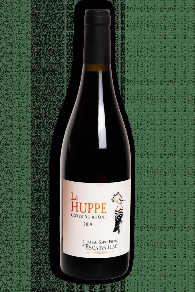 Photographie de la bouteille contenant la cuvée dite la Huppe, vin rouge du Domaine Saint-Pierre d'Escarvaillac en Avignon