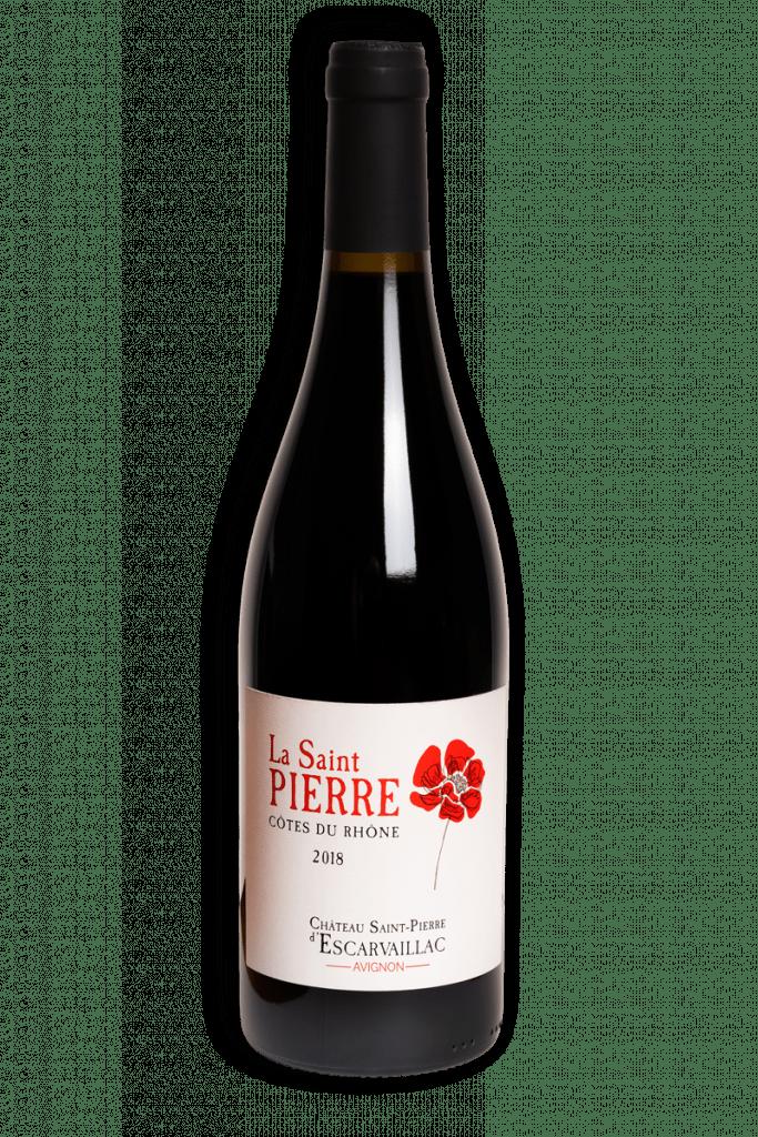 Photographie de la bouteille contenant la cuvée dite la Saint Pïerre, vin rouge du Domaine Saint-Pierre d'Escarvaillac en Avignon